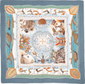 """Luxury Accessories:Accessories, Hermes 140cm Green & Dark Teal """"La Vie du Grand Nord,"""" by Aline Honoré Silk and Cashmere Scarf. Excellent to Pristine Cond..."""