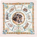 "Luxury Accessories:Accessories, Hermes 90cm Pink & White ""Chevaux de Trait,"" by LaurenceBourthoumieux Silk Scarf. Very Good Condition. 36"" Widthx 36..."