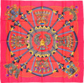 "Luxury Accessories:Accessories, Hermes 90cm Red & Blue ""Egypte,"" by Caty Latham Silk Scarf.Excellent Condition. 36"" Width x 36"" Length. ..."