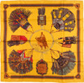 "Luxury Accessories:Accessories, Hermes 90cm Yellow & Red ""Cuirs du Desert,"" by Françoise de laPerriere Silk Scarf. Excellent Condition. 36"" Width x3..."