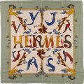 "Luxury Accessories:Accessories, Hermes 90cm Green & Gray ""Alphabet III,"" by Annie Faivre Silkand Cashmere Scarf. Very Good to Excellent Condition.36..."