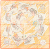 "Hermes 90cm Orange & Pink ""Face au Large,"" by Dominik Jarlegant Silk Scarf Excellent Condition 36"