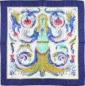 "Luxury Accessories:Accessories, Hermes 90cm Blue & White ""Ceres,"" by Françoise Façonnet Silk Scarf. Very Good Condition. 36"" Width x 36"" Length. ..."