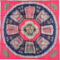 "Luxury Accessories:Accessories, Hermes 90cm Pink & Blue ""Poste et Cavalerie,"" by Joachim MetzSilk Scarf. Very Good to Excellent Condition. 36"" Width..."
