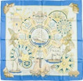 "Luxury Accessories:Accessories, Hermes 90cm Blue & White ""L'Air Marin,"" by Joachim Metz SilkScarf. Excellent Condition. 36"" Width x 36"" Length...."