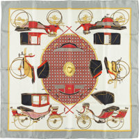 "Hermes 90cm Gray & White ""Les Voitures a Transformation,"" by Françoise De La Perriere Silk Scarf Go..."