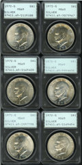 Eisenhower Dollars, (6)1972-S $1 Silver MS65 PCGS. ... (Total: 6 coins)