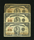 Canadian Currency: , Three Different Canadian Shinplasters.. ... (Total: 3 notes)