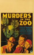 "Movie Posters:Horror, Murders in the Zoo (Paramount, 1933). Window Card (14"" X 22""). ..."