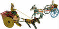 Antiques:Toys, Two Tin Lithographed Donkey and Cart Toys.... (Total: 2 Items)