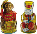 Antiques:Toys, Two Classic J. Chein & Co. Mechanical Tin Banks... (Total: 2 Items)