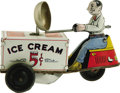 Antiques:Toys, Courtland Ice Cream Vendor on Scooter Tin Mechanical Toy....