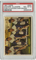 Baseball Cards:Singles (1950-1959), 1957 Topps Dodgers' Sluggers #400 PSA NM-MT 8. Four of Brooklyn'sfinest pose here for this beautiful pack-fresh offering f...
