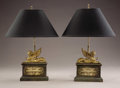 Furniture : French, A Pair of Empire Style Gilt Bronze Sphinx Form Chenets Fashioned asTable Lamps . Unknown maker, possibly French. 20th cen... (Total: 2Items)