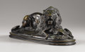 Sculpture, Lion Devouring an Antelope. . Antoine Louise Barye. Bronze with blackish brown patination. Incised: Barye . Foundry mar...