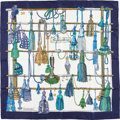 """Luxury Accessories:Accessories, Hermes 90cm Blue & White """"Passementerie,"""" by Françoise HeronSilk Scarf. Very Good Condition. 36"""" Width x 36""""Length..."""