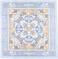 "Luxury Accessories:Accessories, Hermes 90cm Blue & White ""Early America,"" by Françoise de laPerriere Silk Scarf. Excellent Condition. 36"" Width x36""..."