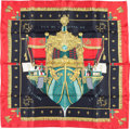 "Luxury Accessories:Accessories, Hermes 90cm Black & Red ""La Reale,"" by Hugo Grygkar Silk Scarf. Very Good Condition. 36"" Width x 36"" Length. ..."