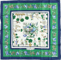 """Luxury Accessories:Accessories, Hermes 90cm Green & Navy Blue """"Les Jardiniers du Roy,"""" byMaurice Tranchant Silk Scarf. Good Condition. 36"""" Width x36..."""