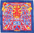 "Luxury Accessories:Accessories, Hermes 90cm Blue & Red ""Le Mors a la Conetable,"" by Henrid'Origny Silk Scarf. Excellent to Pristine Condition. 36""Wi..."