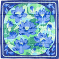 "Luxury Accessories:Accessories, Hermes 90cm Blue & Green ""Fleurs de Lotus,"" by ChristianeVauzelles Silk Scarf. Excellent to Pristine Condition.36"" W..."