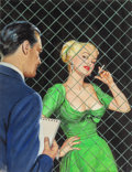 Pulp, Pulp-like, Digests, and Paperback Art, AMERICAN ARTIST (20th Century). Woman in a Green Dress, probablepaperback cover. Gouache on board. 18 x 14 in. (sight)...