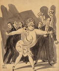 Mainstream Illustration, PETER ARNO (American, 1904-1968). Party Game, The New Yorkermagazine cartoon illustration, 1928. Ink wash with white hi...