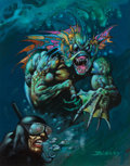 Mainstream Illustration, SIMON BISLEY (English, b. 1962). Sea Monster ThreatensDiver. Oil on board. 12.5 x 9.75 in. (sight). Signed lowerright...