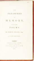 Books:Literature Pre-1900, Samuel Rogers. The Pleasures of Memory, with Other Poems.London: Thomas Bensley for T. Cadell, 1801. Krown & Spel...