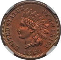 1884 1C MS66 Red and Brown NGC. NGC Census: (27/1). PCGS Population: (13/1). CDN: $1,050 Whsle. Bid for problem-free NGC...