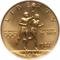 1984-W G$10 Olympic Gold Ten Dollar MS70 NGC. NGC Census: (445). PCGS Population (122). Mintage: 75,800. Numismedia Wsl...
