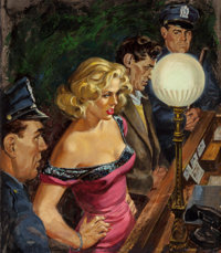 HOWELL DODD (American, 1910-2005) My Love Lies Cold!, Police Detective magazine cover, June 1953 Oil