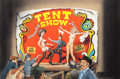 Mainstream Illustration, REN WICKS (American, 1911-1998). The Tent Show, Hustler Magazineinterior illustration. Gouache on board. 21.5 x 32.875 ...