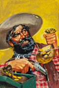 Pulp, Pulp-like, Digests, and Paperback Art, AMERICAN ARTIST (20th Century). The Prospector, probable westernpulp cover. Oil on board. 21.25 x 14.25 in. (sight). No...
