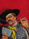 Pulp, Pulp-like, Digests, and Paperback Art, AMERICAN ARTIST (20th Century). The Gambler, probable westernpulp cover. Oil on board. 19.5 x 14.25 in. (sight). Not si...