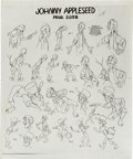 "animation art:Model Sheet, Melody Time ""Johnny Appleseed"" Printed Model Sheet (WaltDisney, 1948)...."