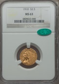 Indian Quarter Eagles: , 1910 $2 1/2 MS63 NGC. CAC. NGC Census: (1412/1017). PCGS Population (692/519). Mintage: 492,000. Numismedia Wsl. Price for ...