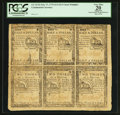 Colonial Notes:Continental Congress Issues, Continental Currency February 17, 1776 Partial Sheet of Six $1/2 (Three) and $2/3 (Three) PCGS Apparent Very Fine 20.. ...