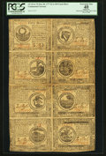 Colonial Notes:Continental Congress Issues, Continental Currency May 20, 1777 $2, $3, $4, $5, $6, $7, $8, and$30 Half Sheet of Eight PCGS Apparent Extremely Fine 40.. ...