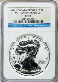 2011 Silver Eagle Set, 25th Anniversary, NGC. This set includes: 2011-P Reverse Proof PR70, 2011-W PR70 Ultra Cameo, 201...