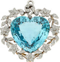 Estate Jewelry:Pendants and Lockets, Edwardian Aquamarine, Diamond, Platinum-Topped Gold Pendant. ...