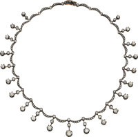 Diamond, Silver-Topped Gold Necklace