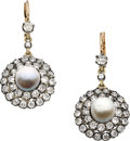 Estate Jewelry:Earrings, Antique Natural Pearl, Diamond, Silver-Topped Gold Earrings. ...