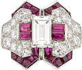 Estate Jewelry:Rings, Art Deco Diamond, Ruby, Platinum Ring, Oscar Heyman Bros. . ...