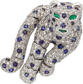 Estate Jewelry:Brooches - Pins, Diamond, Sapphire, Emerald, Platinum Clip-Brooch. ...