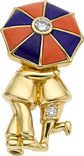 Estate Jewelry:Brooches - Pins, Diamond, Coral, Lapis Lazuli, Gold Brooch, Van Cleef & Arpels, French. ...