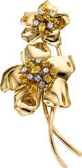 Estate Jewelry:Brooches - Pins, Diamond, Citrine, Gold Clip-Brooch, Cartier. ...