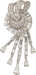 Estate Jewelry:Brooches - Pins, Diamond, Platinum Clip-Brooch, circa 1950. ...