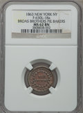 Civil War Merchants, 1863 Broas Brothers Pie Bakers, New York, NY, MS62 Brown NGC,Baker-523, Fuld-NY630L-18a, formerly Fuld-NY630M-13a; 1865-D...(Total: 2 tokens)