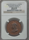 U.S. Presidents & Statesmen, Benjamin Franklin Merriam Medal MS63 Red and Brown NGC, Sch-C11,copper, 31mm; Benjamin Franklin AU58 NGC, Sch-GM-109, b... (Total:2 medals)